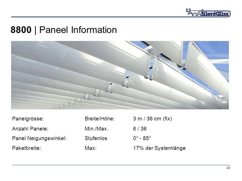 29 Panelgrösse:Breite/Höhe:3 m / 36 cm (fix) Anzahl Panele:Min./Max.6 / 36 Panel Neigungswinkel:Stufenlos 0° - 85° Paketbreite:Max:17% der Systemlänge