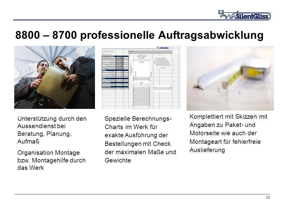 33 8800 – 8700 professionelle Auftragsabwicklung Spezielle Berechnungs- Charts im Werk für exakte Ausführung der Bestellungen mit Check der maximalen