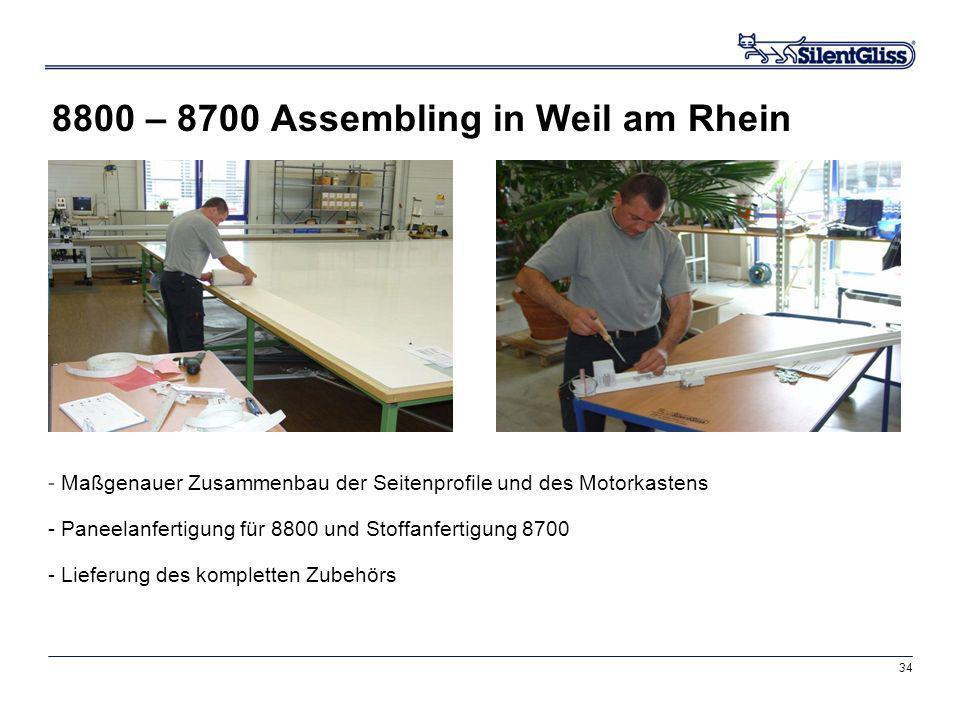 34 8800 – 8700 Assembling in Weil am Rhein - Maßgenauer Zusammenbau der Seitenprofile und des Motorkastens - Paneelanfertigung für 8800 und Stoffanfer