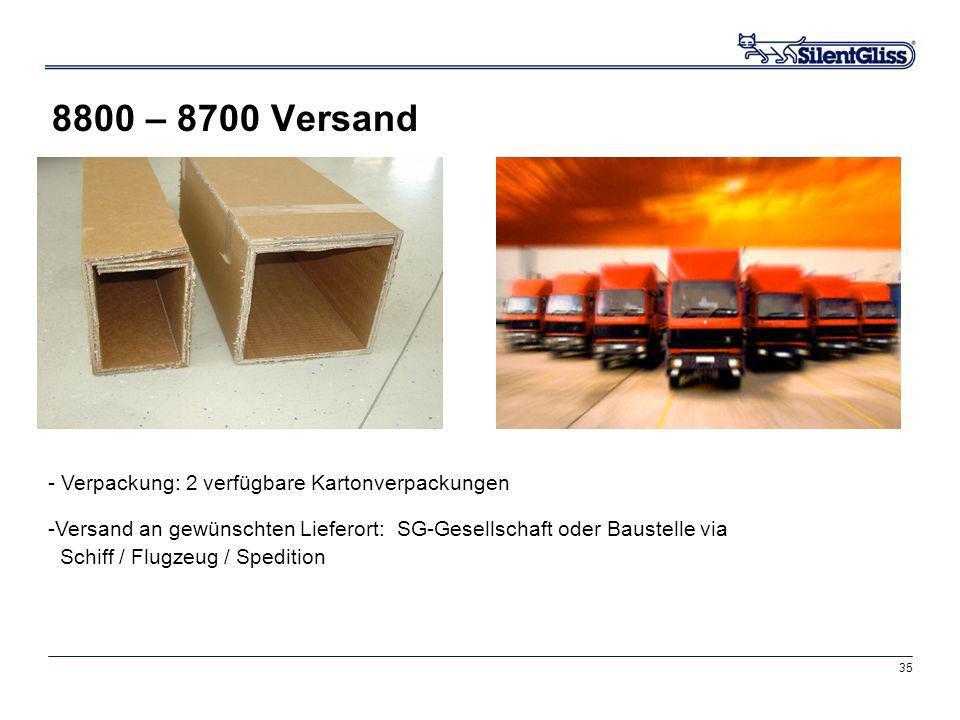 35 8800 – 8700 Versand - Verpackung: 2 verfügbare Kartonverpackungen -Versand an gewünschten Lieferort: SG-Gesellschaft oder Baustelle via Schiff / Fl