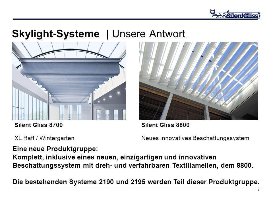 4 Skylight-Systeme | Unsere Antwort Silent Gliss 8700 XL Raff / Wintergarten Silent Gliss 8800 Neues innovatives Beschattungssystem Eine neue Produktg