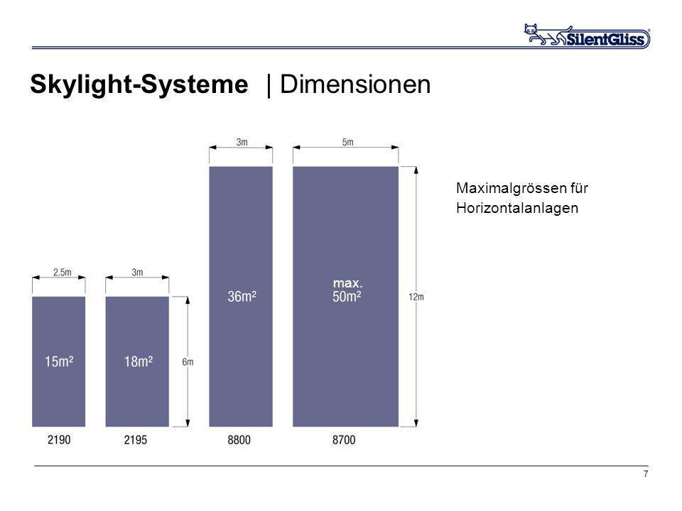 7 Maximalgrössen für Horizontalanlagen Skylight-Systeme | Dimensionen max.