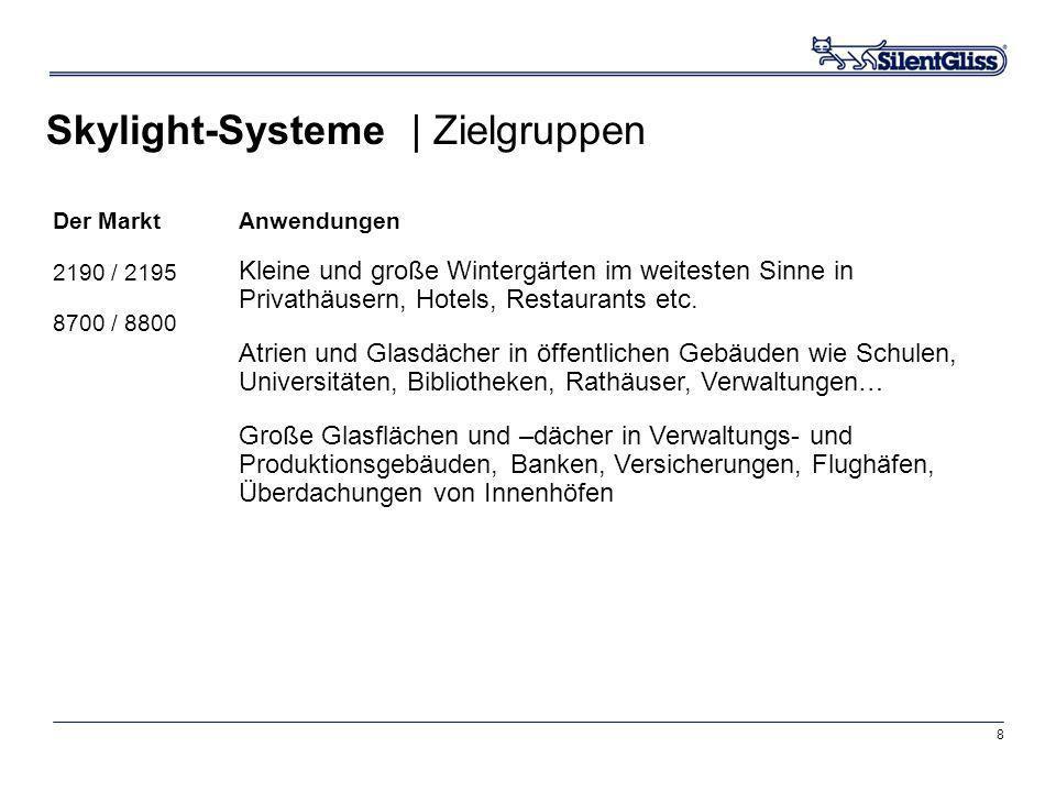8 Skylight-Systeme | Zielgruppen Der Markt 2190 / 2195 8700 / 8800 Anwendungen Kleine und große Wintergärten im weitesten Sinne in Privathäusern, Hote