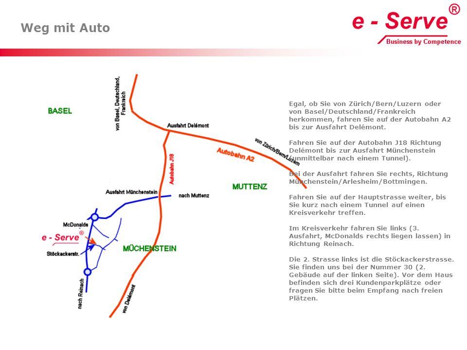 Weg mit Auto Egal, ob Sie von Zürich/Bern/Luzern oder von Basel/Deutschland/Frankreich herkommen, fahren Sie auf der Autobahn A2 bis zur Ausfahrt Delé