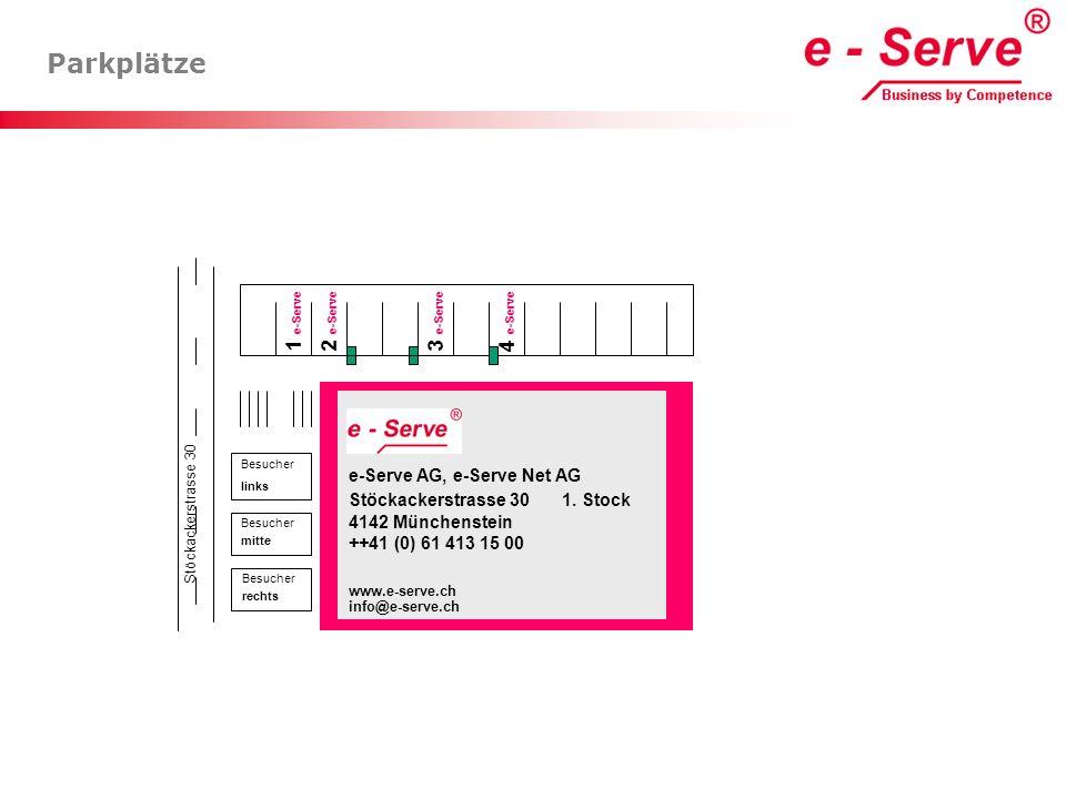 Parkplätze Besucher mitte Besucher links Besucher rechts Stöckackerstrasse 30 e-Serve AG, e-Serve Net AG Stöckackerstrasse 30 1. Stock 4142 Münchenste