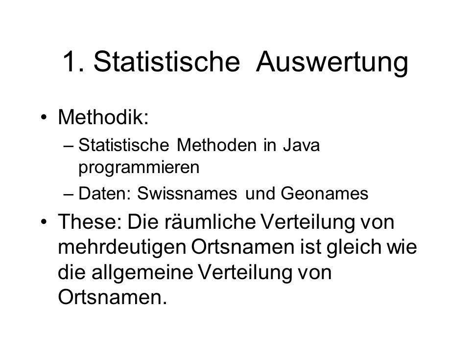 1. Statistische Auswertung Methodik: –Statistische Methoden in Java programmieren –Daten: Swissnames und Geonames These: Die räumliche Verteilung von