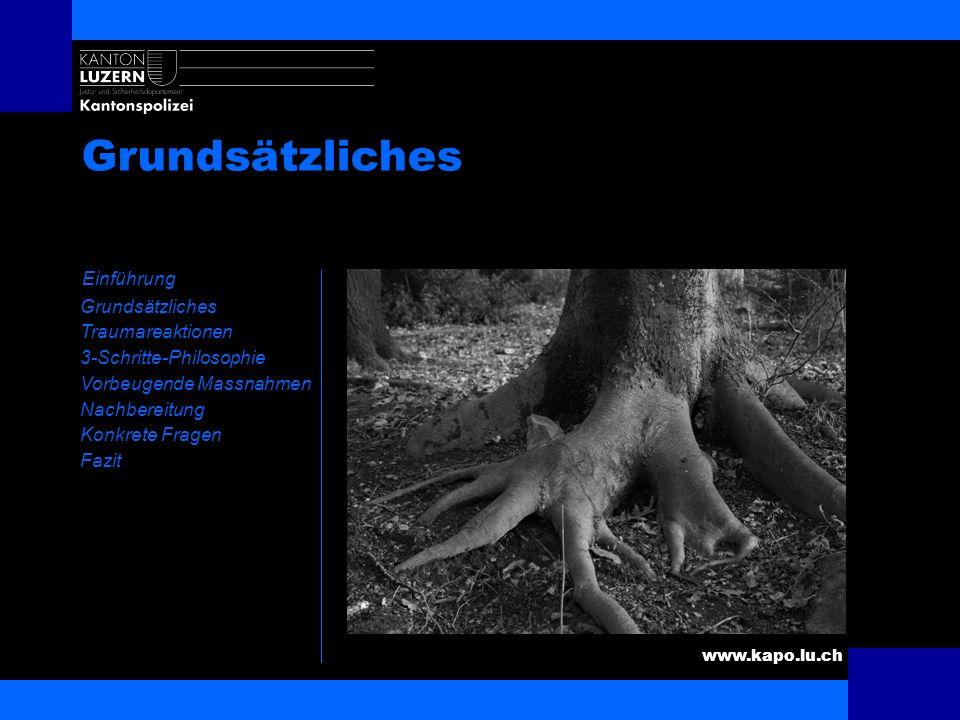www.kapo.lu.ch Inhaltsverzeichnis Einführung Grundsätzliches Traumareaktionen 3-Schritte-Philosophie Vorbeugende Massnahmen Nachbereitung Konkrete Fra