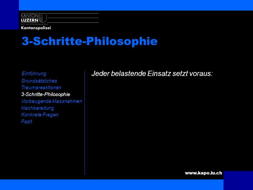 www.kapo.lu.ch 3-Schritte-Philosophie Einführung Grundsätzliches Traumareaktionen 3-Schritte-Philosophie Vorbeugende Massnahmen Nachbereitung Konkrete