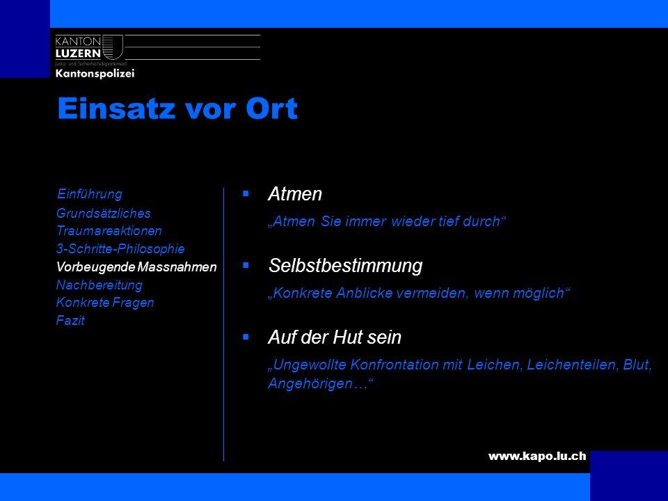 www.kapo.lu.ch Einsatz vor Ort Einführung Grundsätzliches Traumareaktionen 3-Schritte-Philosophie Vorbeugende Massnahmen Nachbereitung Konkrete Fragen