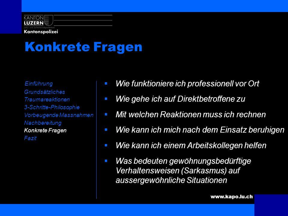 www.kapo.lu.ch Konkrete Fragen Einführung Grundsätzliches Traumareaktionen 3-Schritte-Philosophie Vorbeugende Massnahmen Nachbereitung Konkrete Fragen