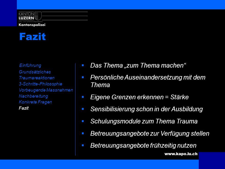 www.kapo.lu.ch Fazit Einführung Grundsätzliches Traumareaktionen 3-Schritte-Philosophie Vorbeugende Massnahmen Nachbereitung Konkrete Fragen Fazit