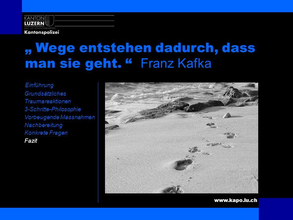 www.kapo.lu.ch Fazit Einführung Grundsätzliches Traumareaktionen 3-Schritte-Philosophie Vorbeugende Massnahmen Nachbereitung Konkrete Fragen Fazit Das