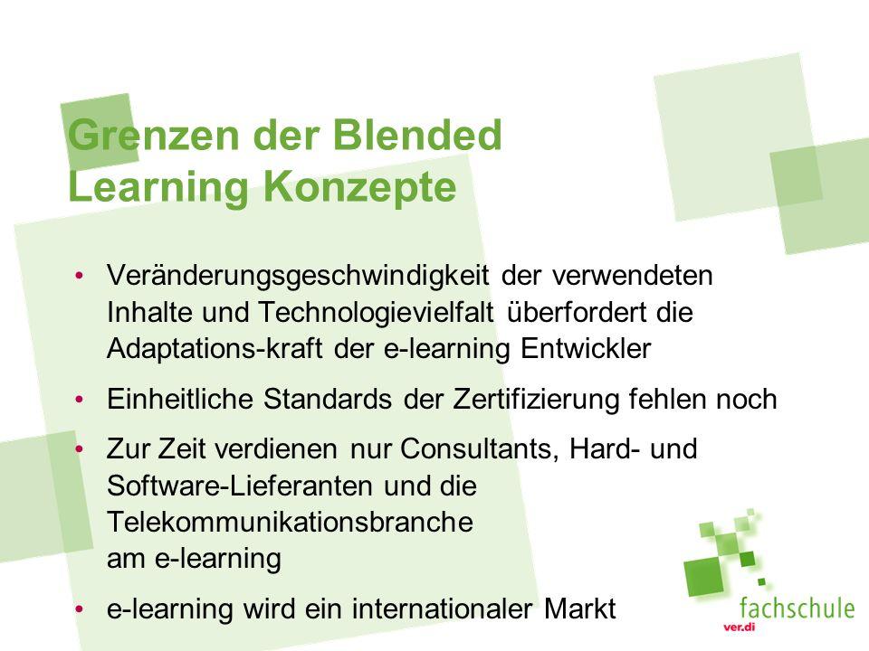 Grenzen der Blended Learning Konzepte Veränderungsgeschwindigkeit der verwendeten Inhalte und Technologievielfalt überfordert die Adaptations-kraft der e-learning Entwickler Einheitliche Standards der Zertifizierung fehlen noch Zur Zeit verdienen nur Consultants, Hard- und Software-Lieferanten und die Telekommunikationsbranche am e-learning e-learning wird ein internationaler Markt