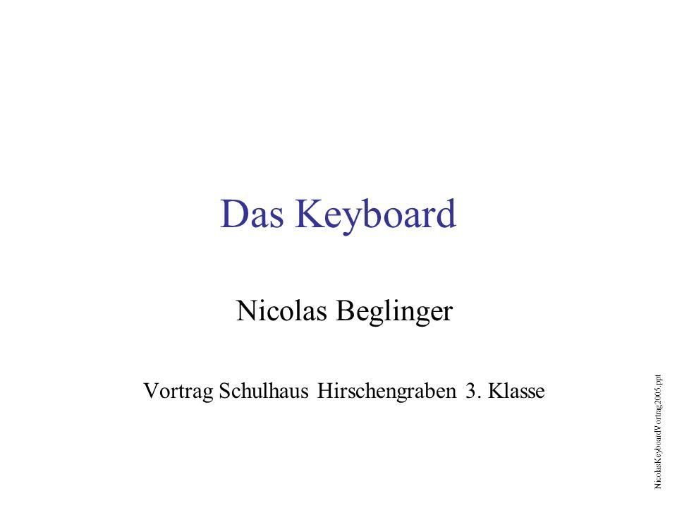 NicolasKeyboardVortrag2005.ppt Das Keyboard Nicolas Beglinger Vortrag Schulhaus Hirschengraben 3. Klasse
