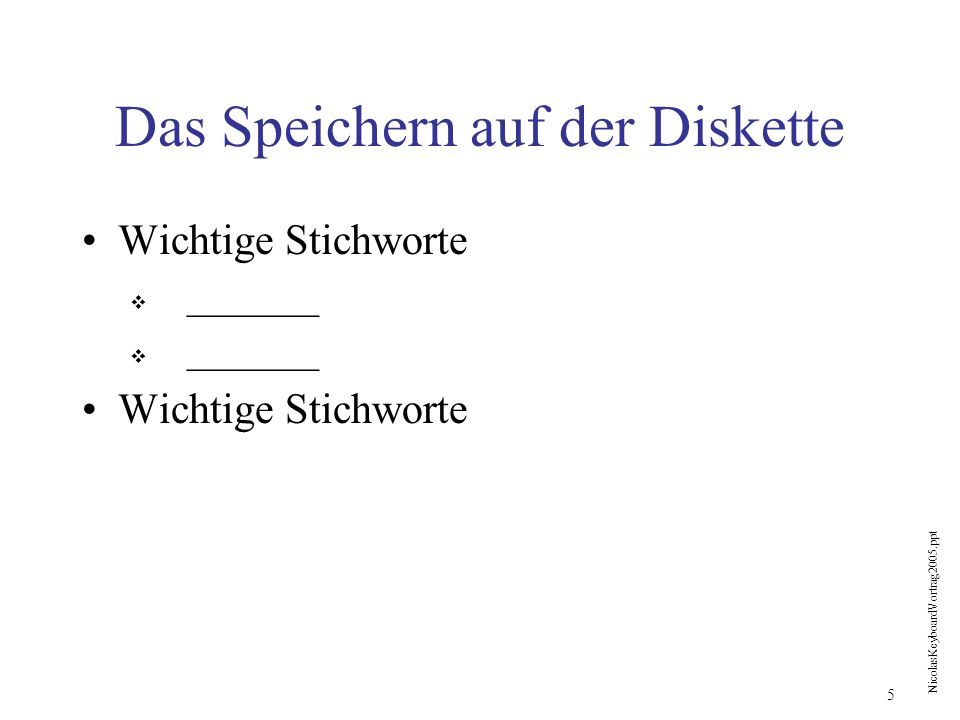 NicolasKeyboardVortrag2005.ppt 6 Wir gehen nach Braunwald Mitnehmen _______ Reise Zum Bahnhof Stadelhofen _______ Zug _______ Braunwaldbahn _______ Zum Haus Nöldeke _______