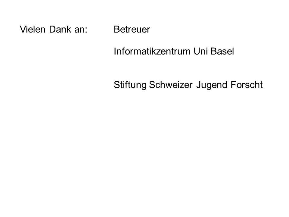 Vielen Dank an:Betreuer Informatikzentrum Uni Basel Stiftung Schweizer Jugend Forscht