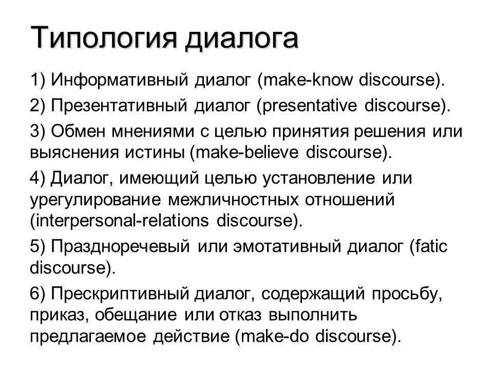 Типология диалога 1) Информативный диалог (make-know discourse).