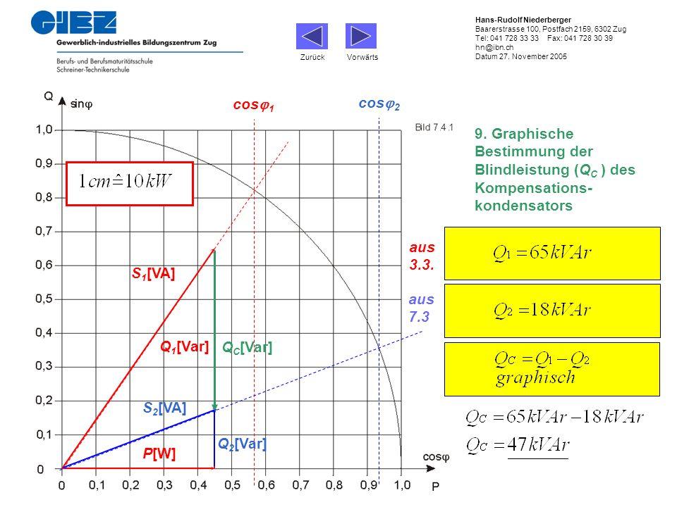 9. Graphische Bestimmung der Blindleistung (Q C ) des Kompensations- kondensators cos 1 P[W] Q 1 [Var] S 1 [VA] cos 2 Q 2 [Var] S 2 [VA] Q C [Var] aus