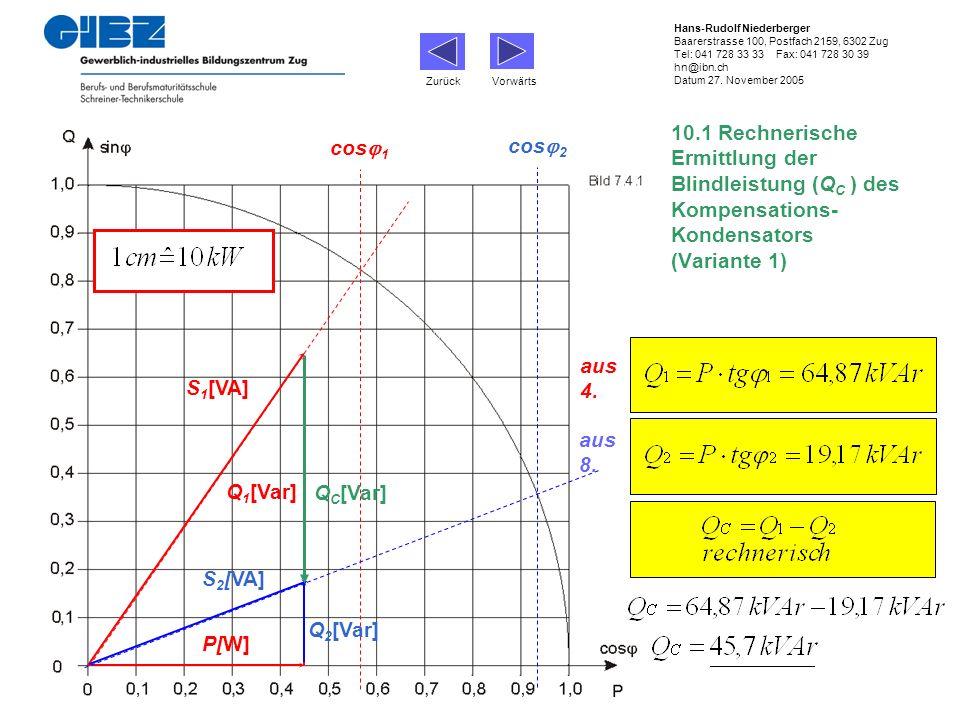 10.1 Rechnerische Ermittlung der Blindleistung (Q C ) des Kompensations- Kondensators (Variante 1) cos 1 P[W] Q 1 [Var] S 1 [VA] cos 2 Q 2 [Var] S 2 [