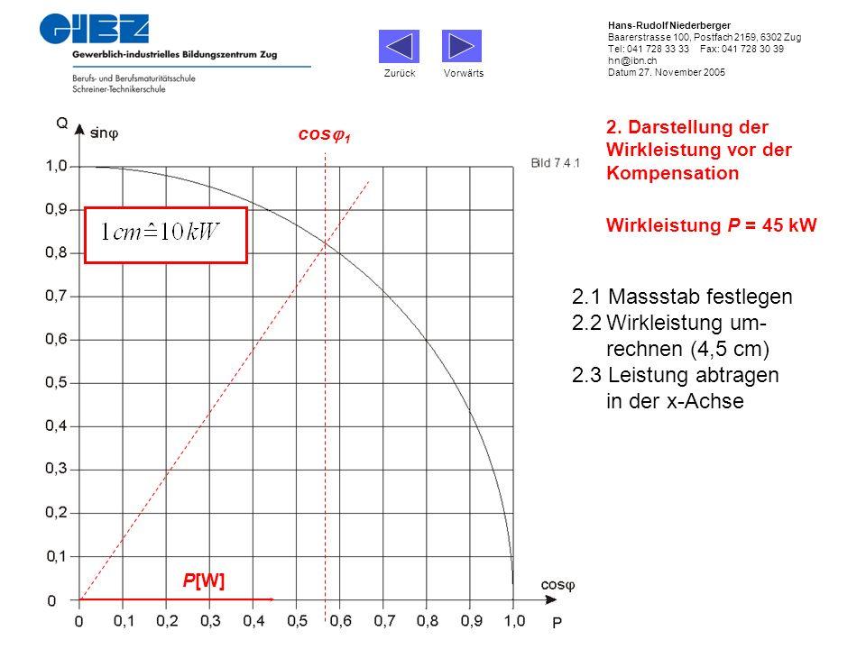 2. Darstellung der Wirkleistung vor der Kompensation cos 1 Wirkleistung P = 45 kW P[W] 2.1 Massstab festlegen 2.2Wirkleistung um- rechnen (4,5 cm) 2.3