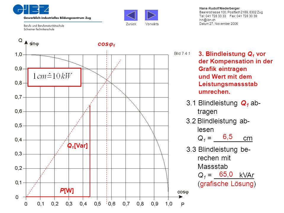 3. Blindleistung Q 1 vor der Kompensation in der Grafik eintragen und Wert mit dem Leistungsmassstab umrechen. P[W] Q 1 [Var] cos 1 3.1 Blindleistung