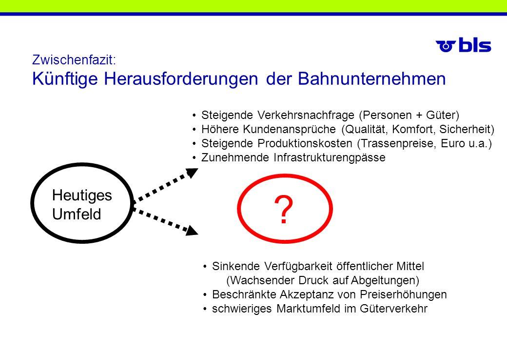 Zwischenfazit: Künftige Herausforderungen der Bahnunternehmen Steigende Verkehrsnachfrage (Personen + Güter) Höhere Kundenansprüche (Qualität, Komfort