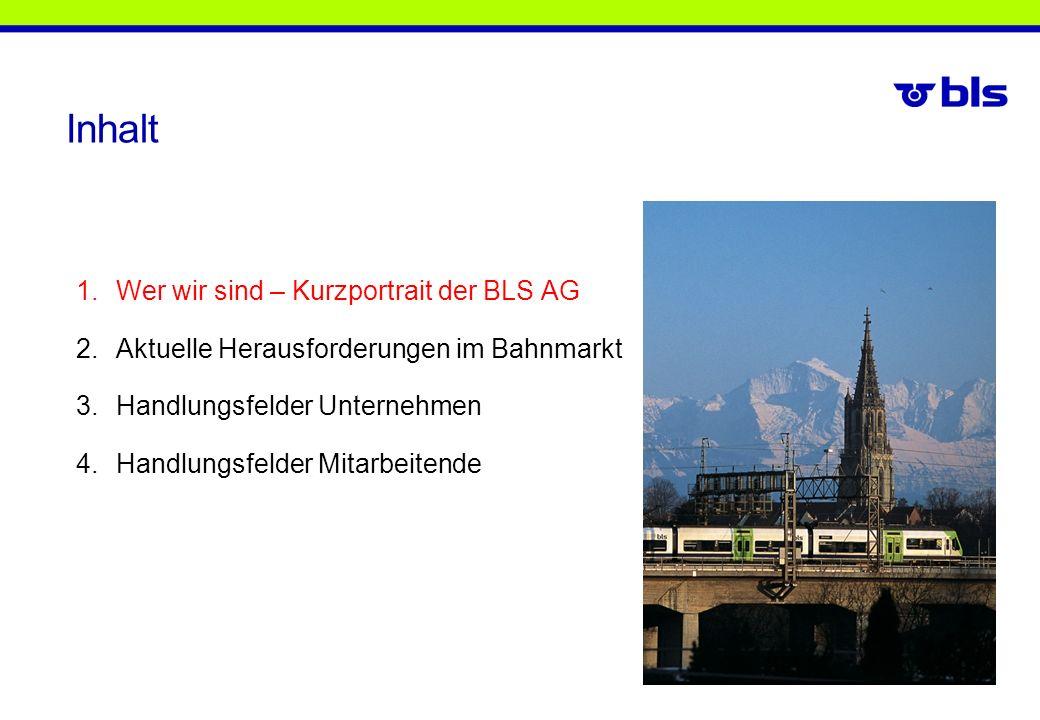 Güterverkehr BLS Cargo AG Infrastruktur BLS Netz AG BLS AG 52% DB Schenker 45% IMT 3% Bund 50,1% BLS AG 33,4% Kt.