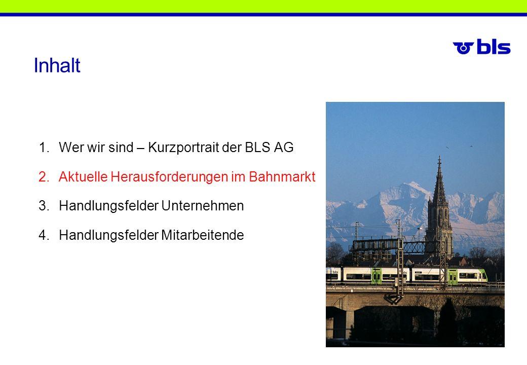 Inhalt 1.Wer wir sind – Kurzportrait der BLS AG 2.Aktuelle Herausforderungen im Bahnmarkt 3.Handlungsfelder Unternehmen 4.Handlungsfelder Mitarbeitend
