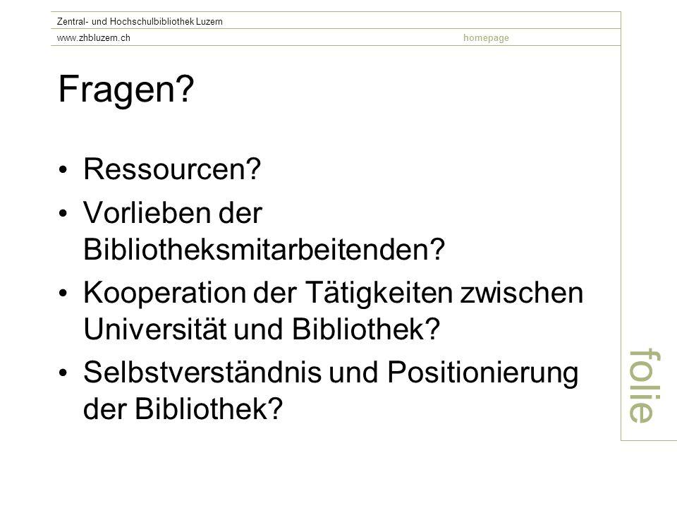 Fragen. Ressourcen. Vorlieben der Bibliotheksmitarbeitenden.