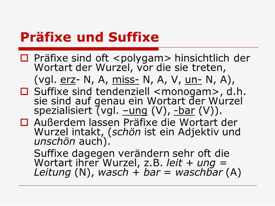 Präfixe und Suffixe Präfixe sind oft hinsichtlich der Wortart der Wurzel, vor die sie treten, (vgl. erz- N, A, miss- N, A, V, un- N, A), Suffixe sind
