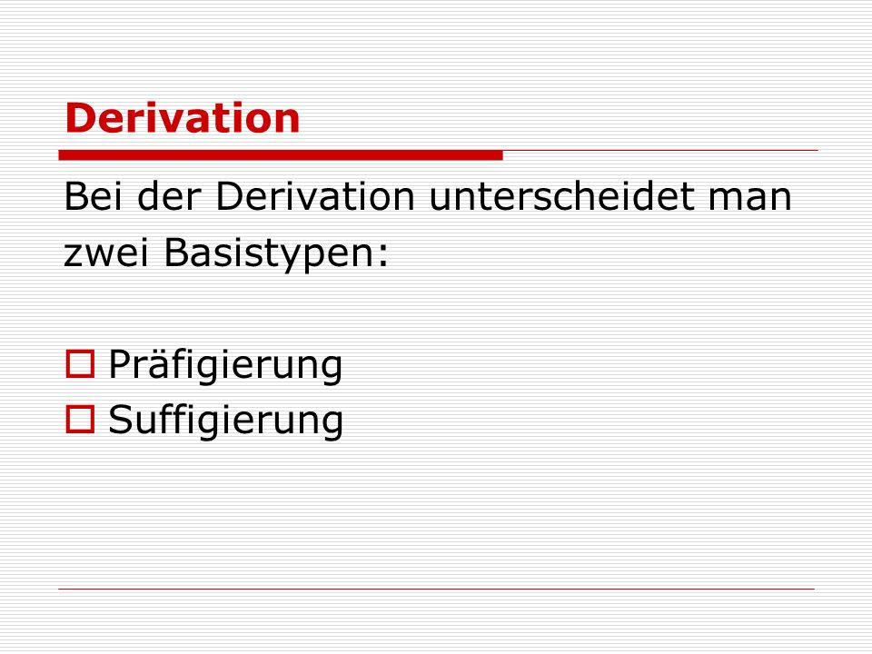 Derivation Bei der Derivation unterscheidet man zwei Basistypen: Präfigierung Suffigierung