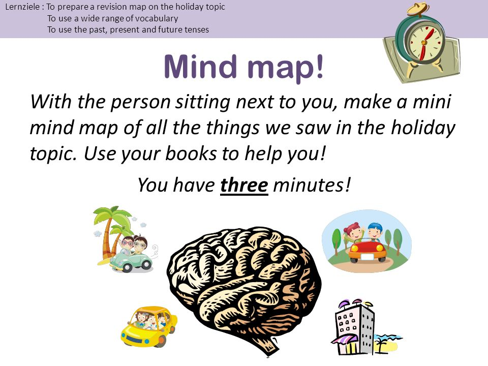 Mind map! With the person sitting next to you, make a mini mind map of all the things we saw in the holiday topic. Use your books to help you! You hav