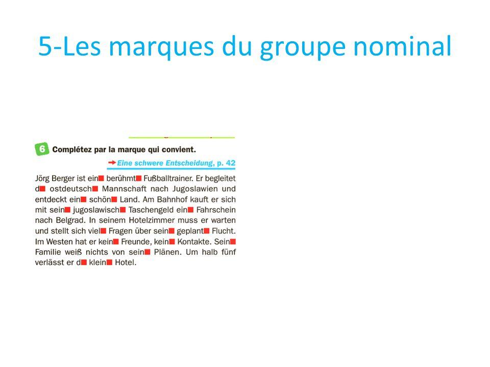 5-Les marques du groupe nominal