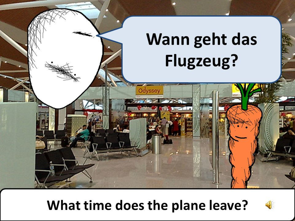 What time does the plane leave? Wann geht das Flugzeug?