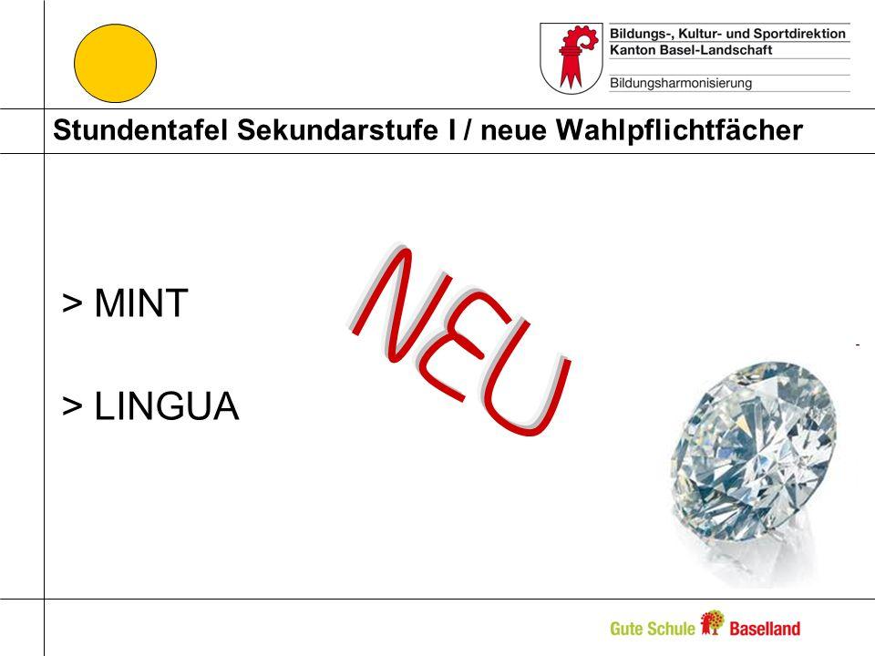 Stundentafel Sekundarstufe I / neue Wahlpflichtfächer >MINT >LINGUA