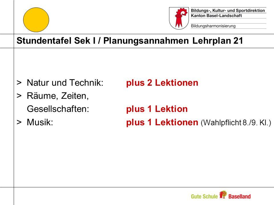 Stundentafel Sek I / Planungsannahmen Lehrplan 21 >Natur und Technik: plus 2 Lektionen >Räume, Zeiten, Gesellschaften: plus 1 Lektion >Musik: plus 1 L