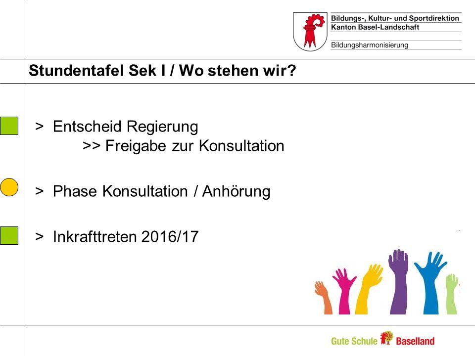 Stundentafel Sek I / Wo stehen wir? >Entscheid Regierung >> Freigabe zur Konsultation >Phase Konsultation / Anhörung >Inkrafttreten 2016/17