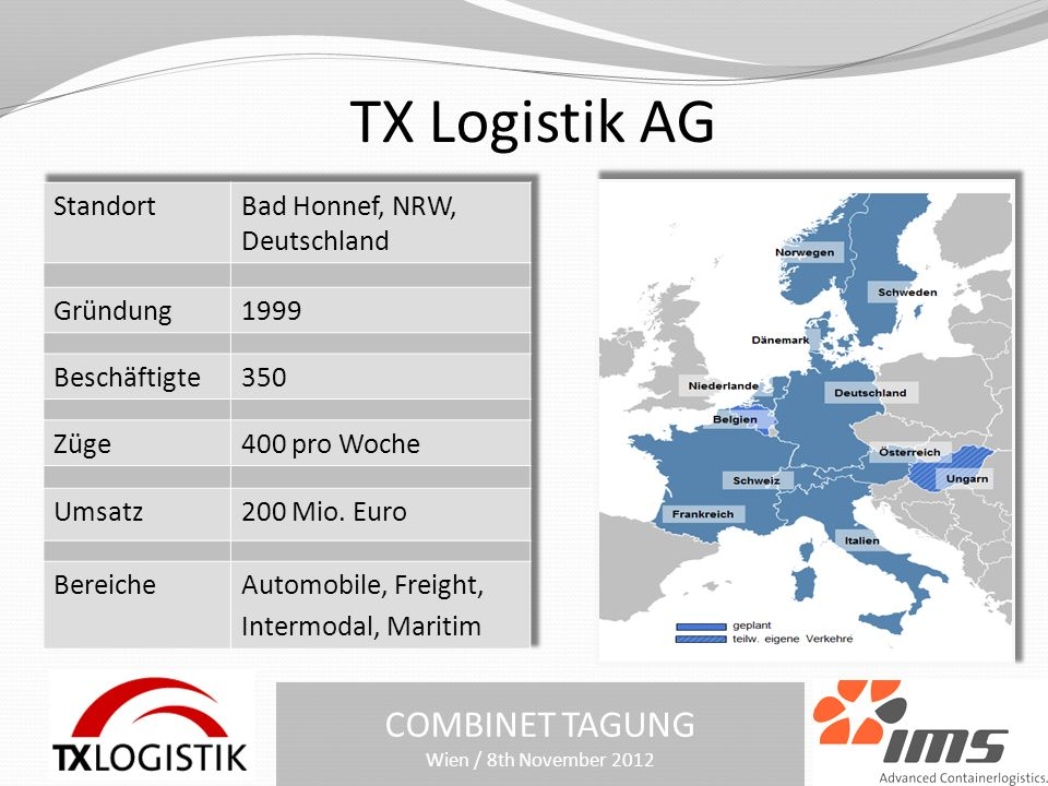 TX Logistik AG COMBINET TAGUNG Wien / 8th November 2012