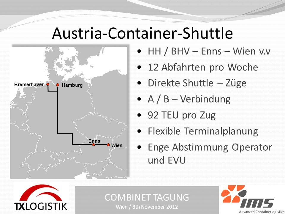 Austria-Container-Shuttle COMBINET TAGUNG Wien / 8th November 2012 HH / BHV – Enns – Wien v.v 12 Abfahrten pro Woche Direkte Shuttle – Züge A / B – Verbindung 92 TEU pro Zug Flexible Terminalplanung Enge Abstimmung Operator und EVU