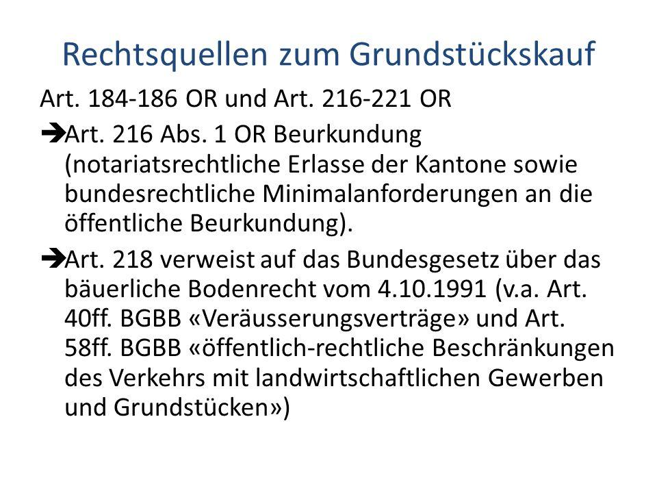 Rechtsquellen zum Grundstückskauf Art.184-186 OR und Art.