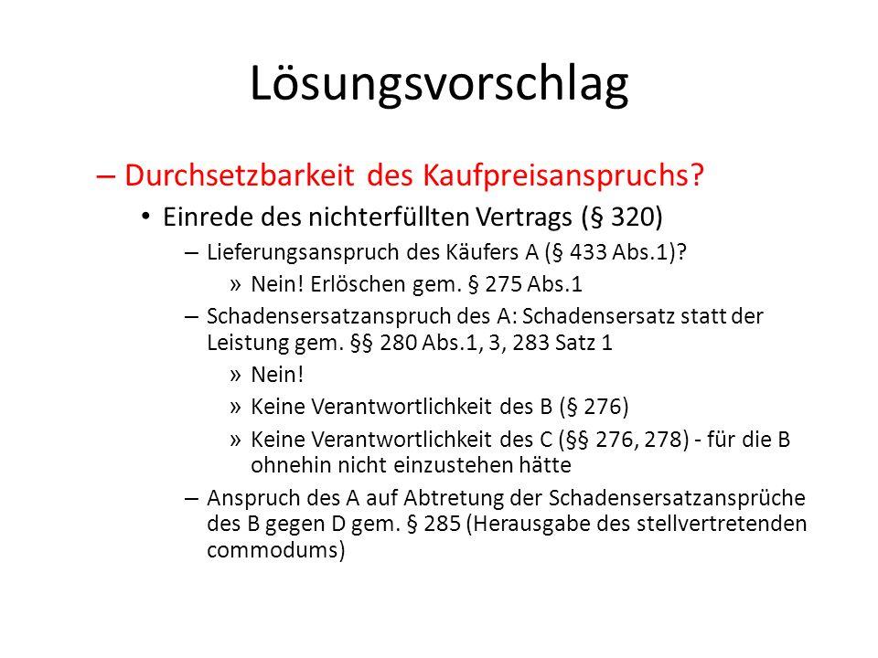 Lösungsvorschlag – Durchsetzbarkeit des Kaufpreisanspruchs? Einrede des nichterfüllten Vertrags (§ 320) – Lieferungsanspruch des Käufers A (§ 433 Abs.