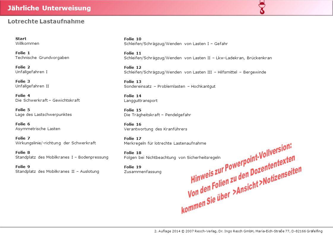 Jährliche Unterweisung 2. Auflage 2014 © 2007 Resch-Verlag, Dr. Ingo Resch GmbH, Maria-Eich-Straße 77, D-82166 Gräfelfing Lotrechte Lastaufnahme Start