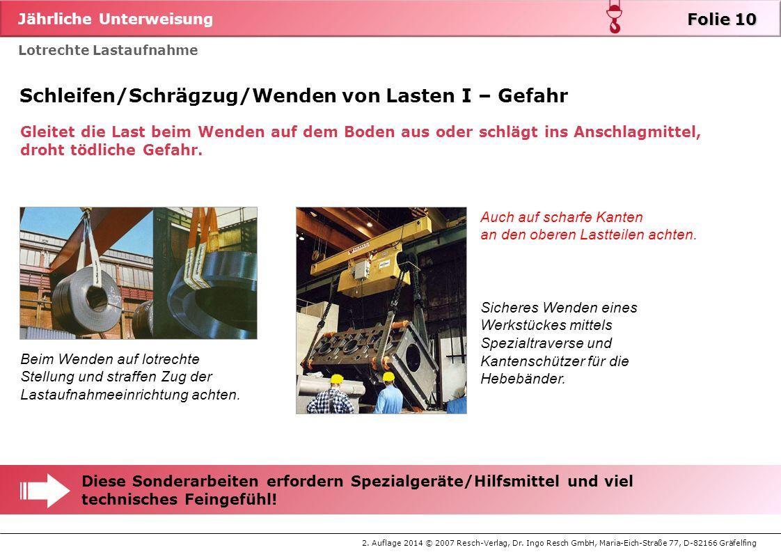 Jährliche Unterweisung 2. Auflage 2014 © 2007 Resch-Verlag, Dr. Ingo Resch GmbH, Maria-Eich-Straße 77, D-82166 Gräfelfing Lotrechte Lastaufnahme Folie