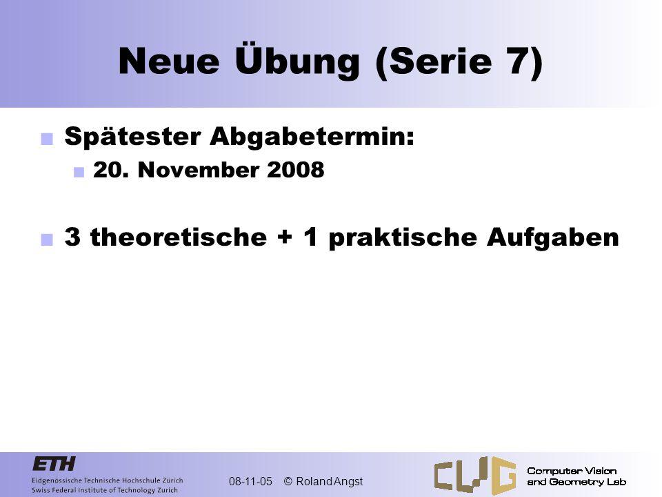 08-11-05 © Roland Angst Repetition: Vektorraum Nichtleere Menge mit zwei Operationen Addition: Skalare Multiplikation: Mit 8 Axiomen V1 V2 V3 V4 V5 V6 V7 V8 Skalarenkörper