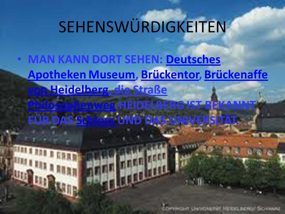 SEHENSWÜRDIGKEITEN MAN KANN DORT SEHEN: Deutsches Apotheken Museum, Brückentor, Brückenaffe von Heidelberg, die Straße Philosophenweg.HEIDELBERG IST B