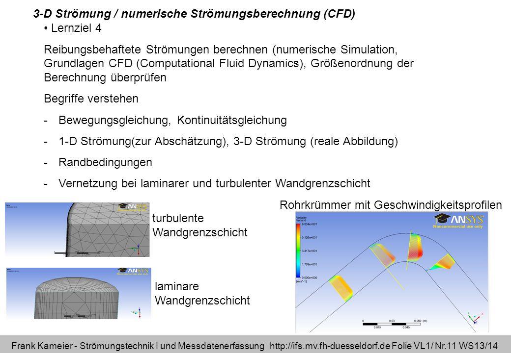 Frank Kameier - Strömungstechnik I und Messdatenerfassung http://ifs.mv.fh-duesseldorf.de Folie VL1/ Nr.11 WS13/14 Lernziel 4 Reibungsbehaftete Strömu