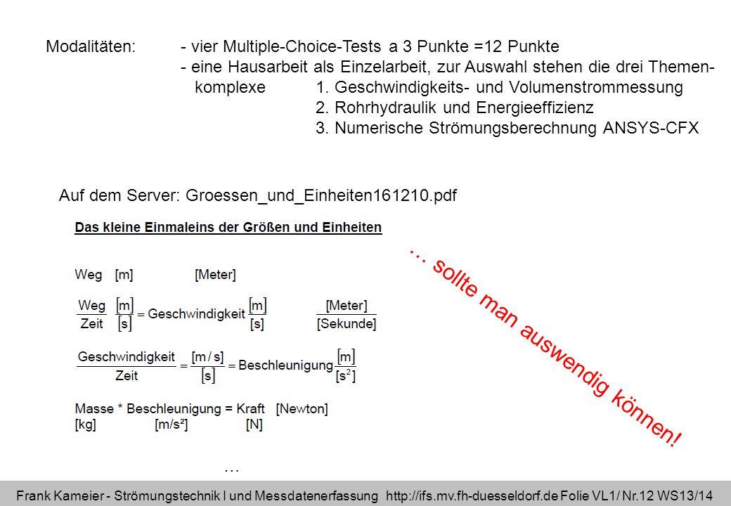 Frank Kameier - Strömungstechnik I und Messdatenerfassung http://ifs.mv.fh-duesseldorf.de Folie VL1/ Nr.12 WS13/14 Modalitäten: - vier Multiple-Choice