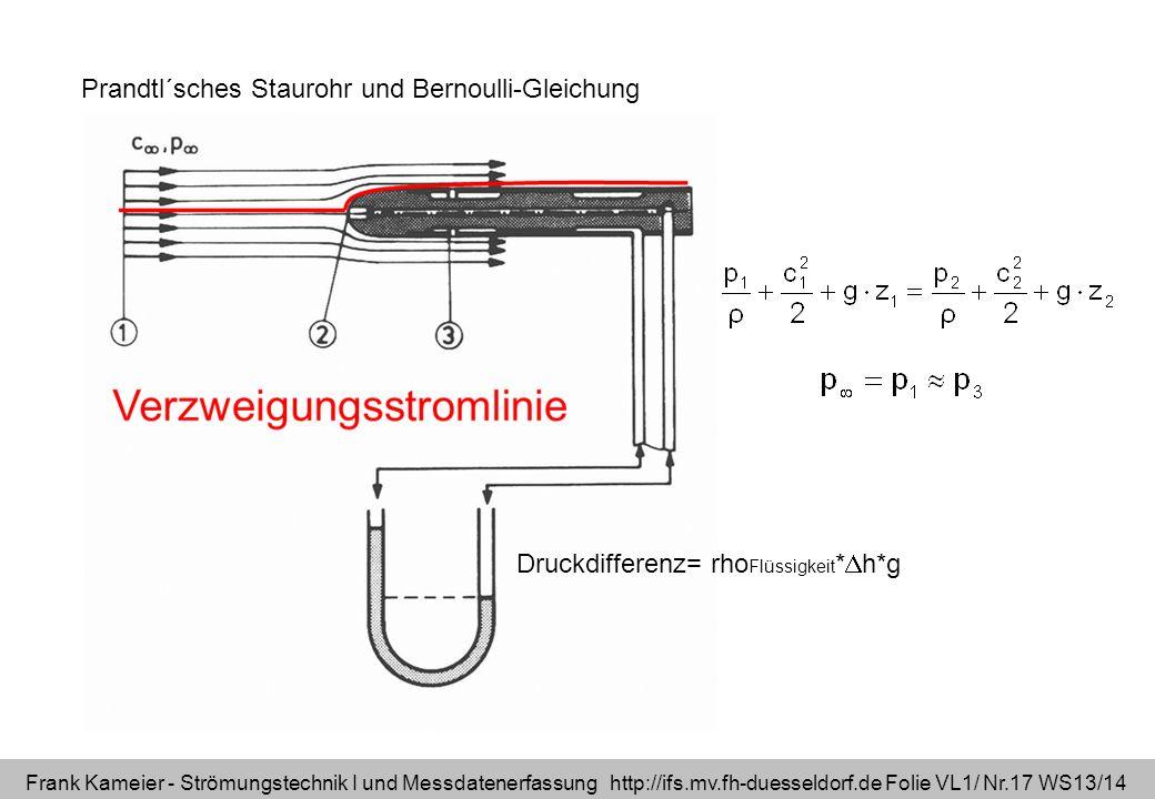 Frank Kameier - Strömungstechnik I und Messdatenerfassung http://ifs.mv.fh-duesseldorf.de Folie VL1/ Nr.17 WS13/14 Prandtl´sches Staurohr und Bernoull