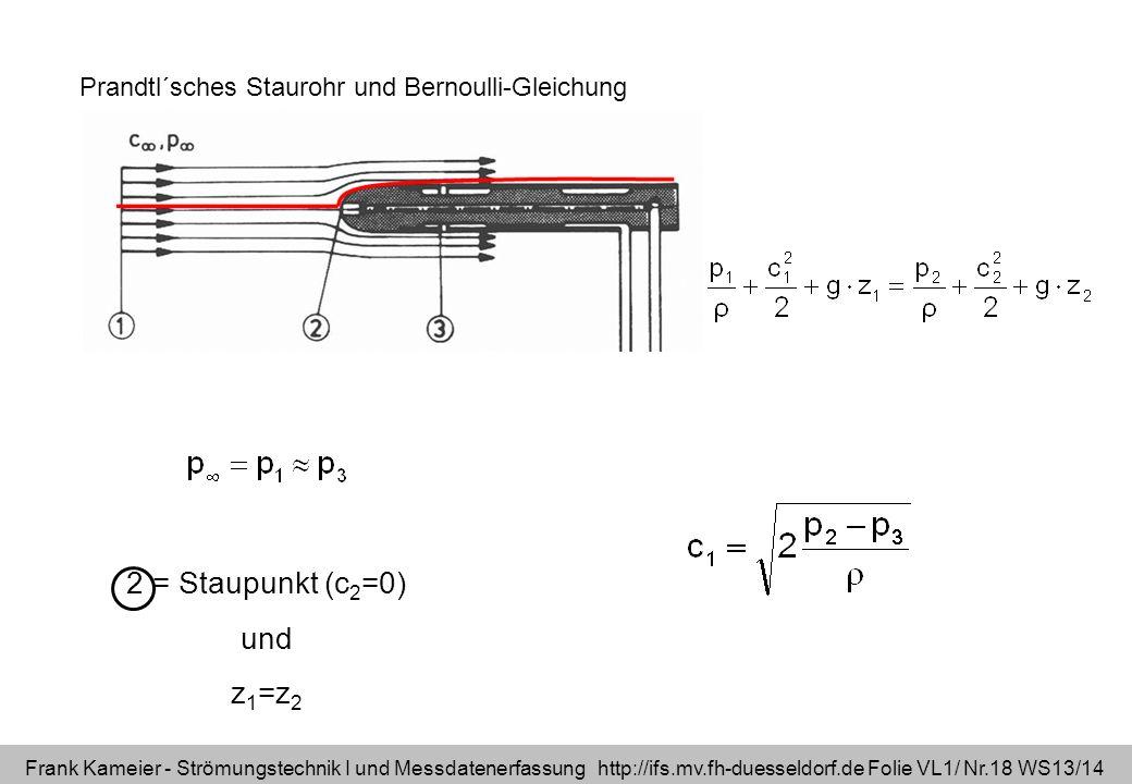 Frank Kameier - Strömungstechnik I und Messdatenerfassung http://ifs.mv.fh-duesseldorf.de Folie VL1/ Nr.18 WS13/14 Prandtl´sches Staurohr und Bernoull