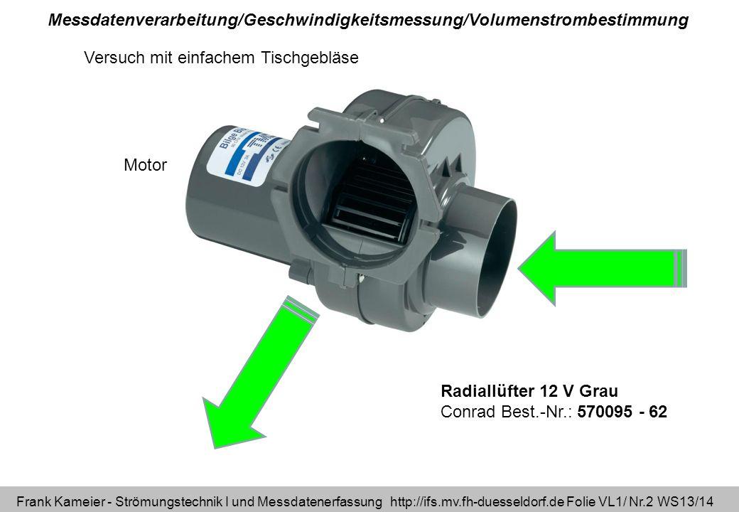 Frank Kameier - Strömungstechnik I und Messdatenerfassung http://ifs.mv.fh-duesseldorf.de Folie VL1/ Nr.23 WS13/14 Geschwindigkeitsprofil_300913.xlsx Berechnung aus Geschwindigkeitsprofil (kreisrundes Rohr) Volumenstromberechnung Beliebige Abstände durch Integration möglich.